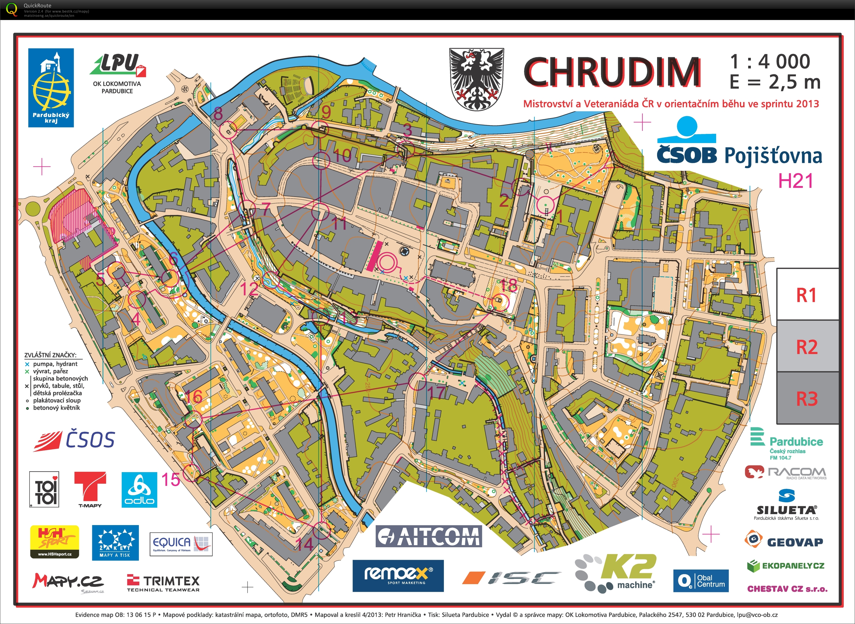 chrudim mapa MČR Sprint   May 8th 2013   Orienteering Map from Roman Zbranek chrudim mapa